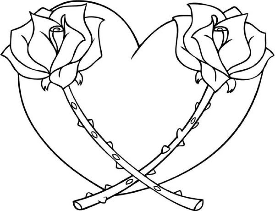 coloring hearts and roses rose and heart drawing printable coloring of valentine coloring hearts roses and