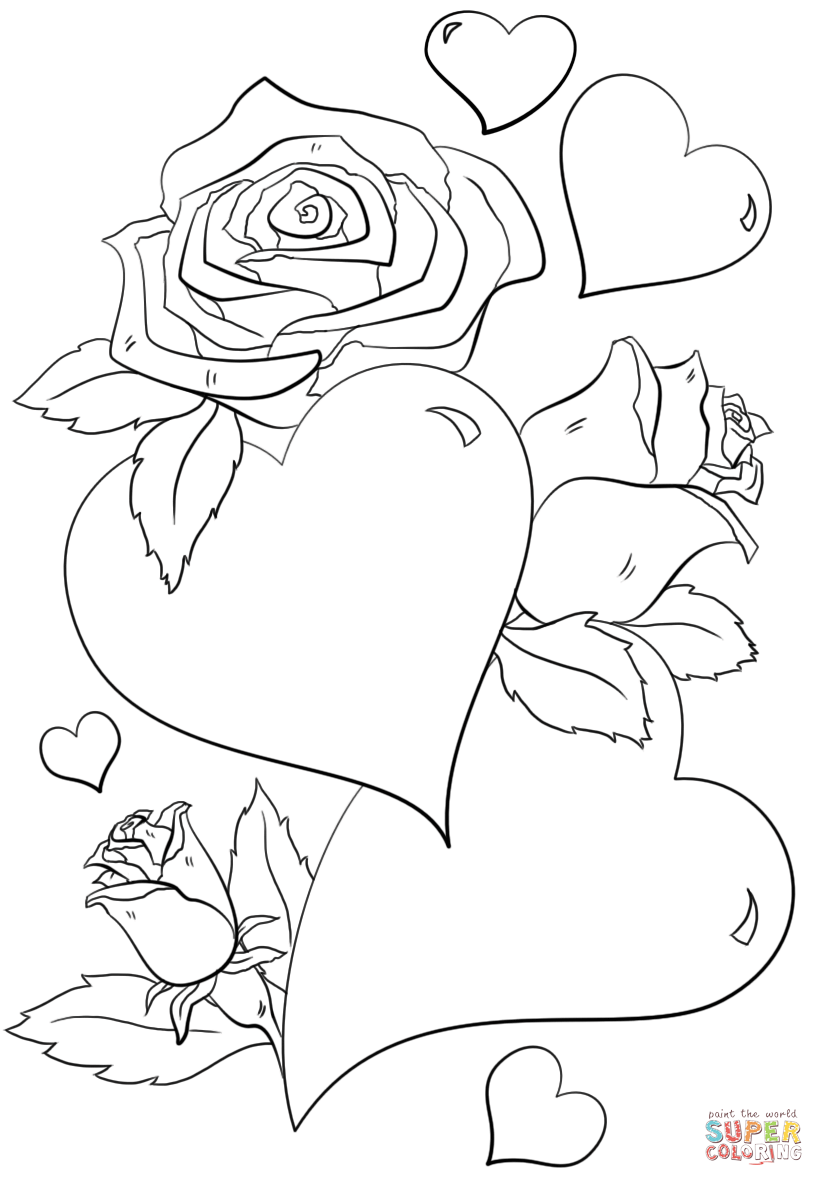 Coloring hearts and roses