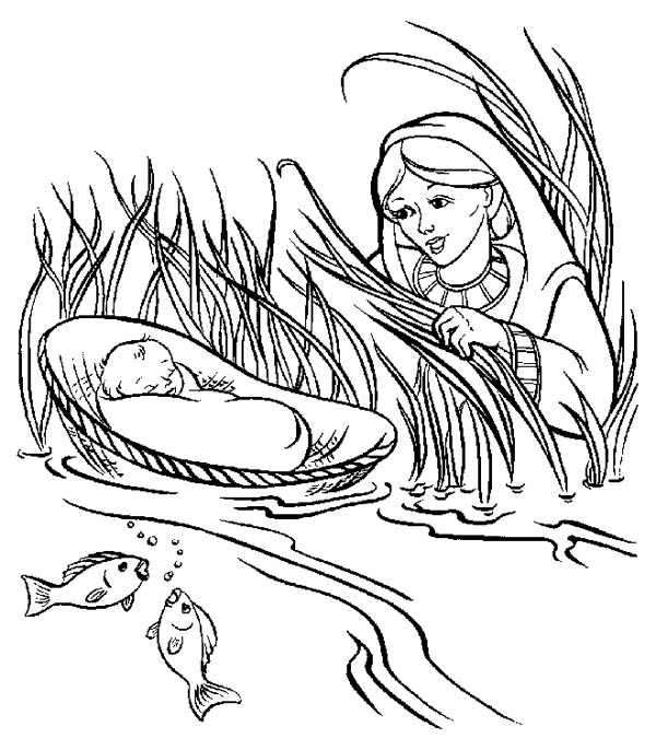 coloring moses in a basket coloring page of baby moses basket saved moseslife a moses basket coloring in