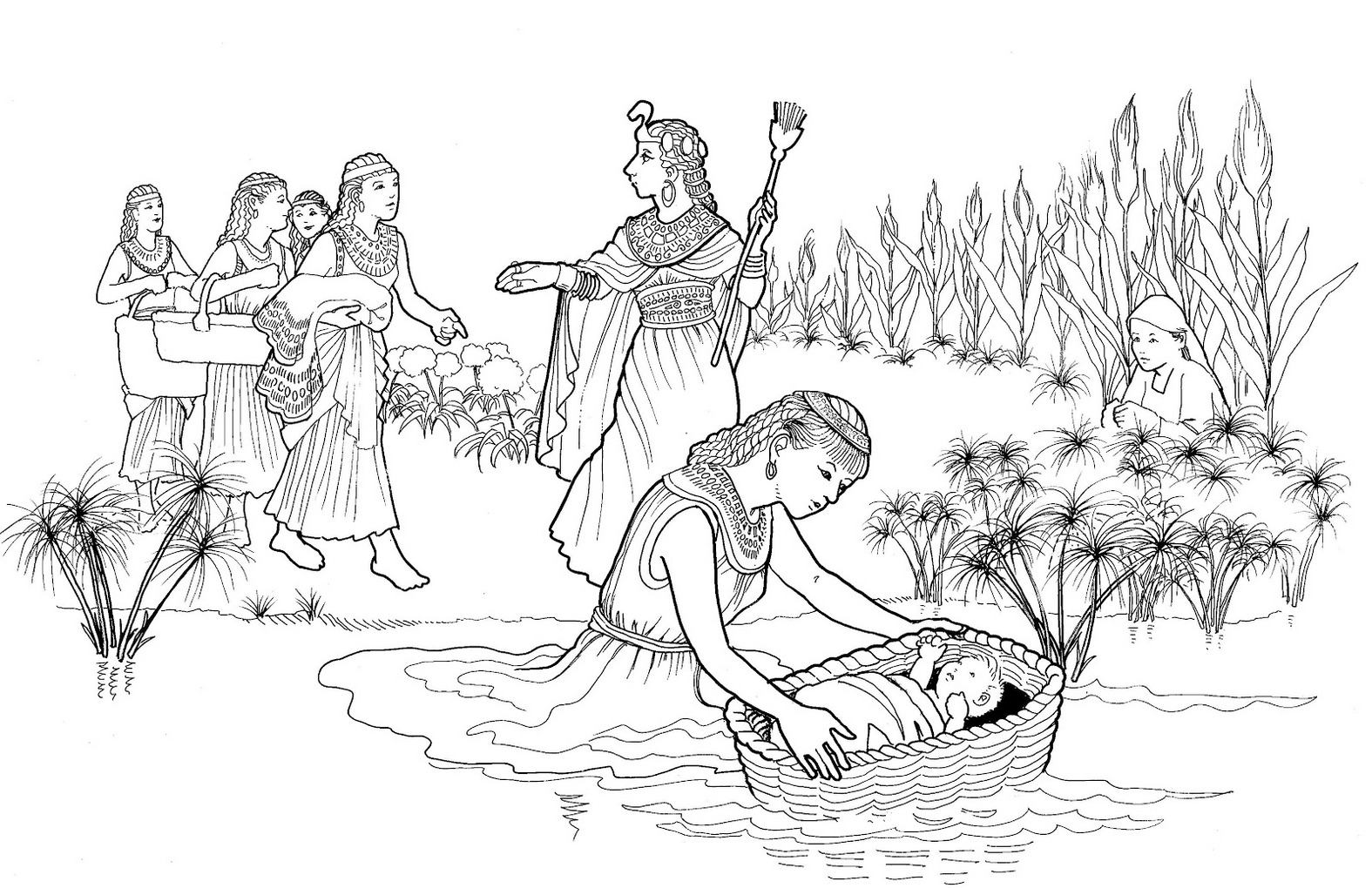 coloring moses in a basket cute baby moses with mom coloring pages for little kids a in coloring basket moses