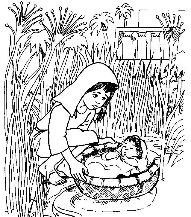coloring moses in a basket moses in the basket this site has some great bible a in basket coloring moses