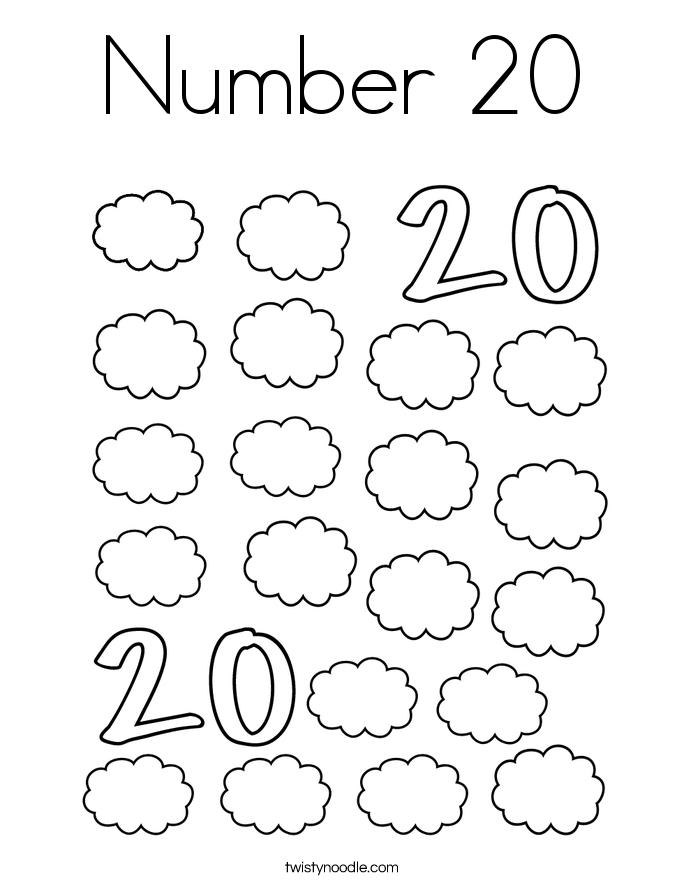 coloring number 20 color the number 20 coloring page twisty noodle number 20 coloring