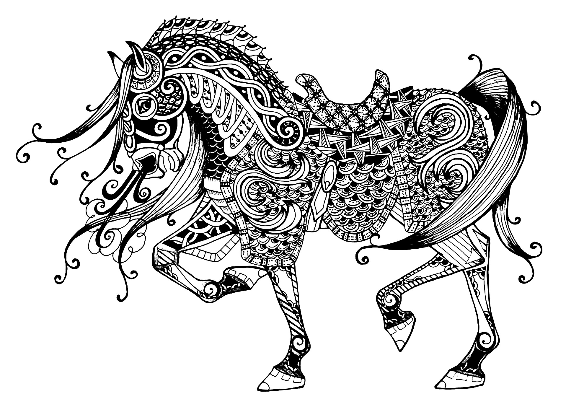 coloring page horse horse free to color for children trotting horse horses coloring horse page