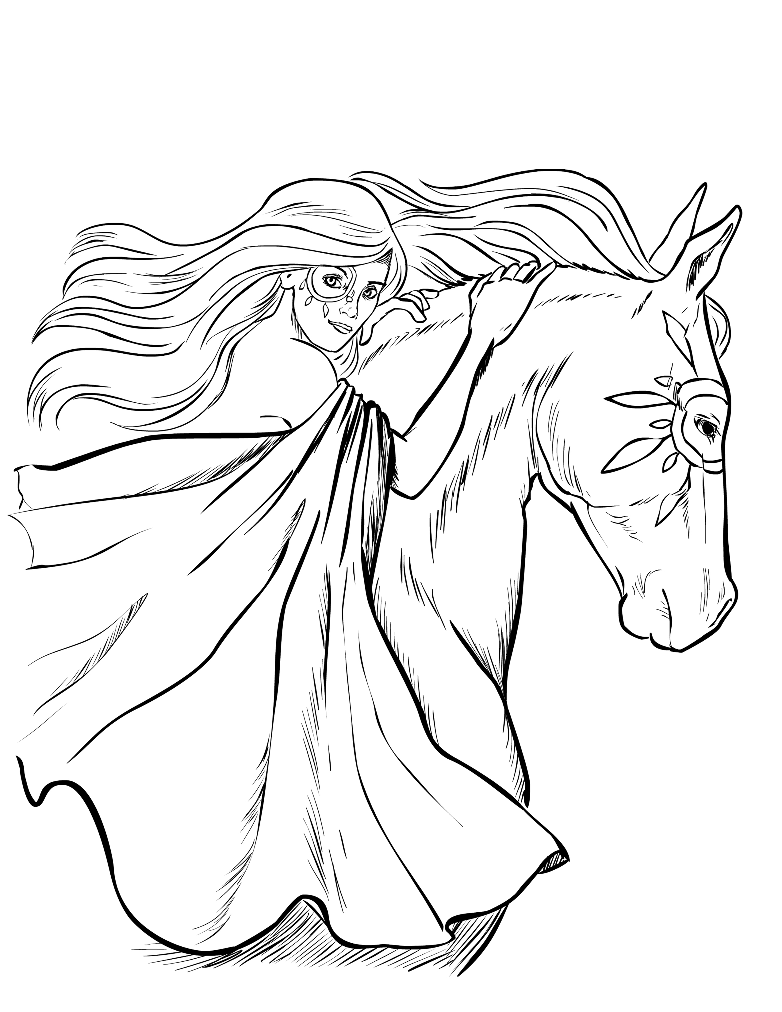 coloring page of horse horse with patterns free to color for children horses horse of coloring page