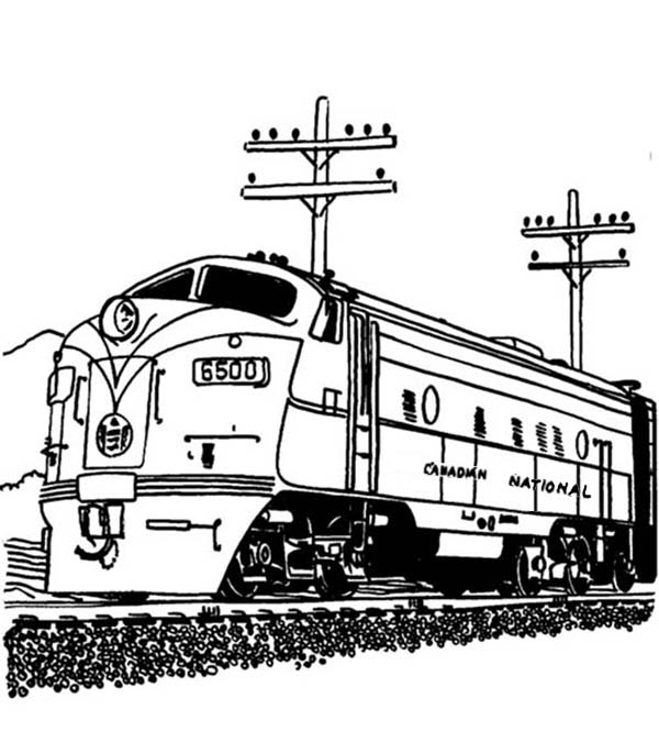 coloring page of train engine streamlined diesel engine train on railroad coloring page train of coloring engine page