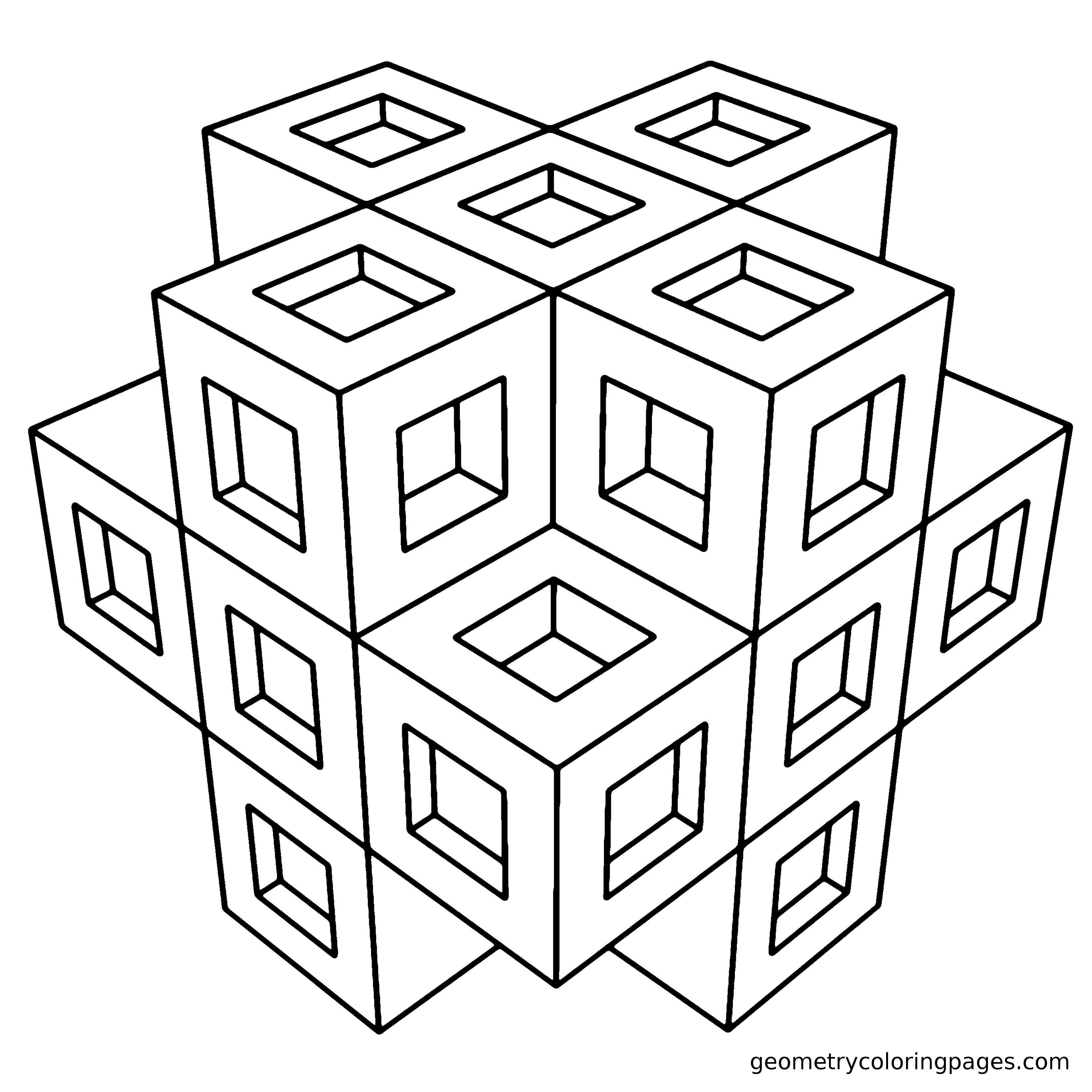 coloring pages 3d 3d geometric coloring pages at getcoloringscom free pages coloring 3d