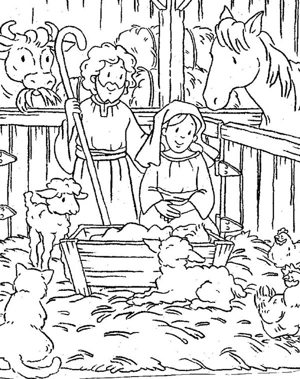 Coloring pages baby jesus in manger