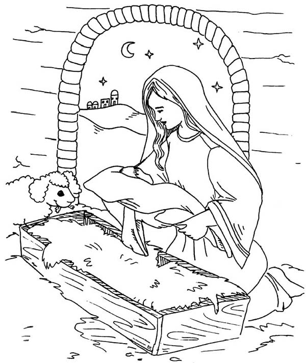 coloring pages baby jesus in manger baby jesus in the manger coloring pages at getcolorings coloring manger jesus pages in baby
