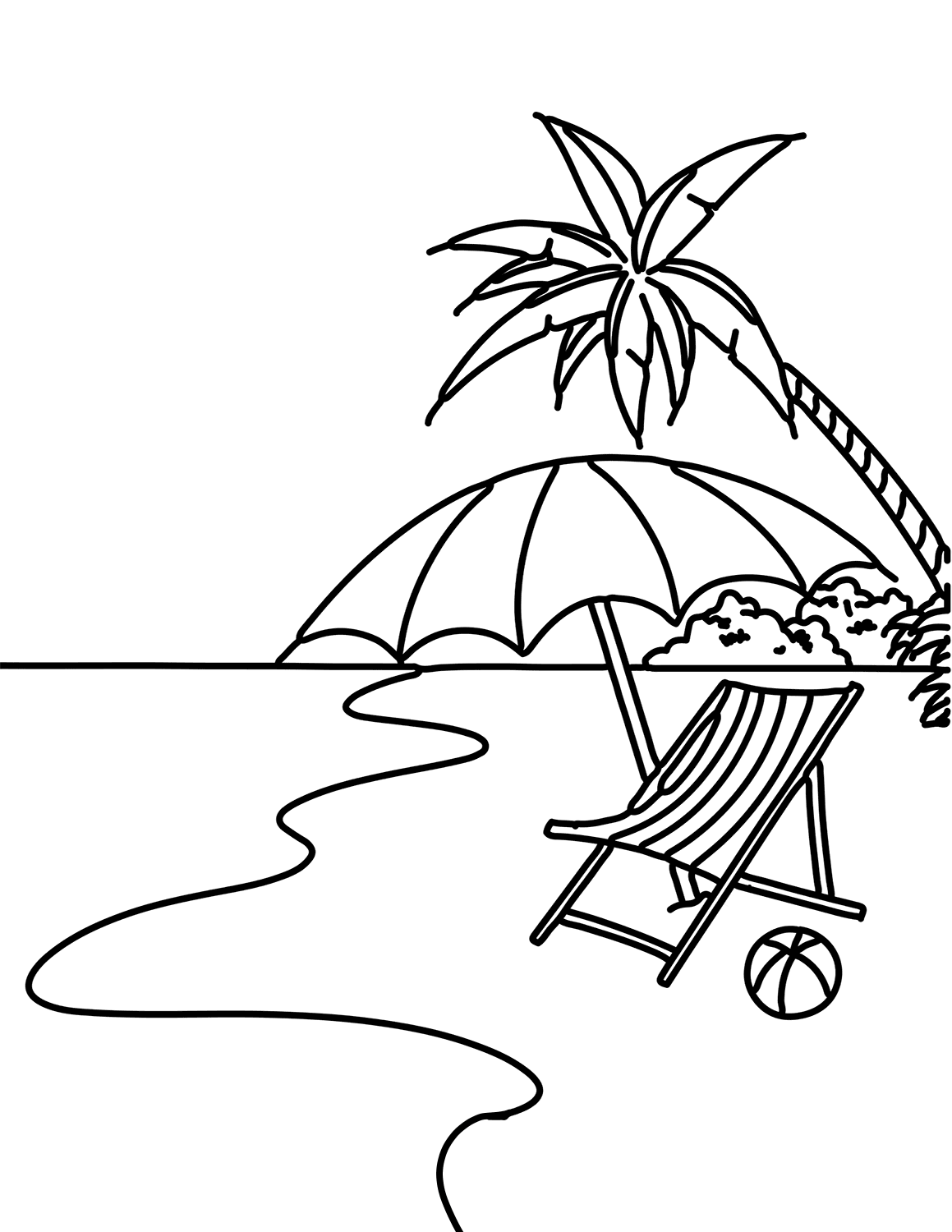 Coloring pages beach scenes
