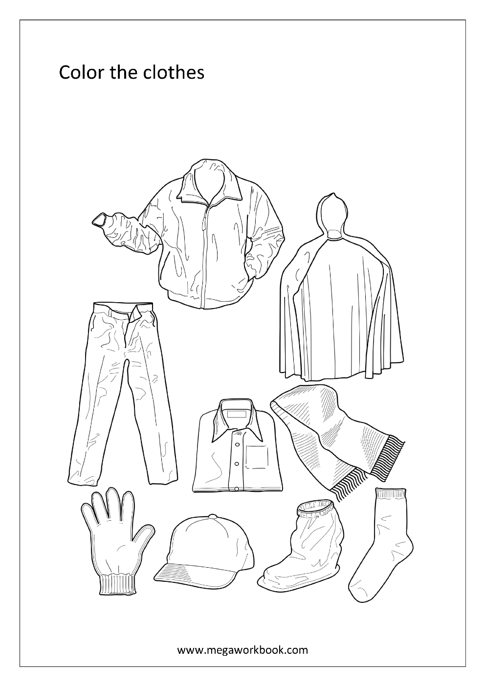 coloring pages clothes printable 11 best images of weather clothes worksheets for pages printable clothes coloring