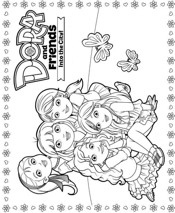 coloring pages dora and friends dora and friends with flowers coloring for kids dora the and dora coloring friends pages