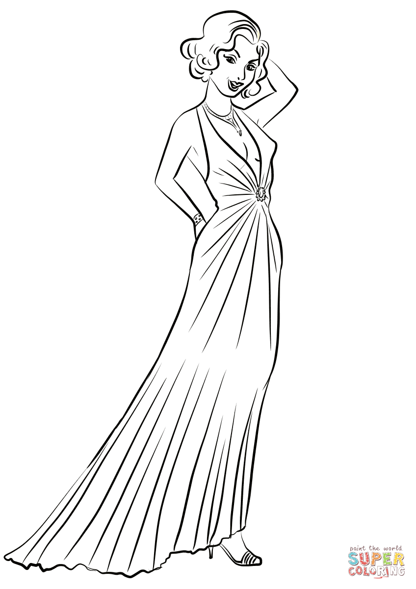 coloring pages for girls dresses 193039s women39s evening dresses coloring page free girls dresses coloring for pages