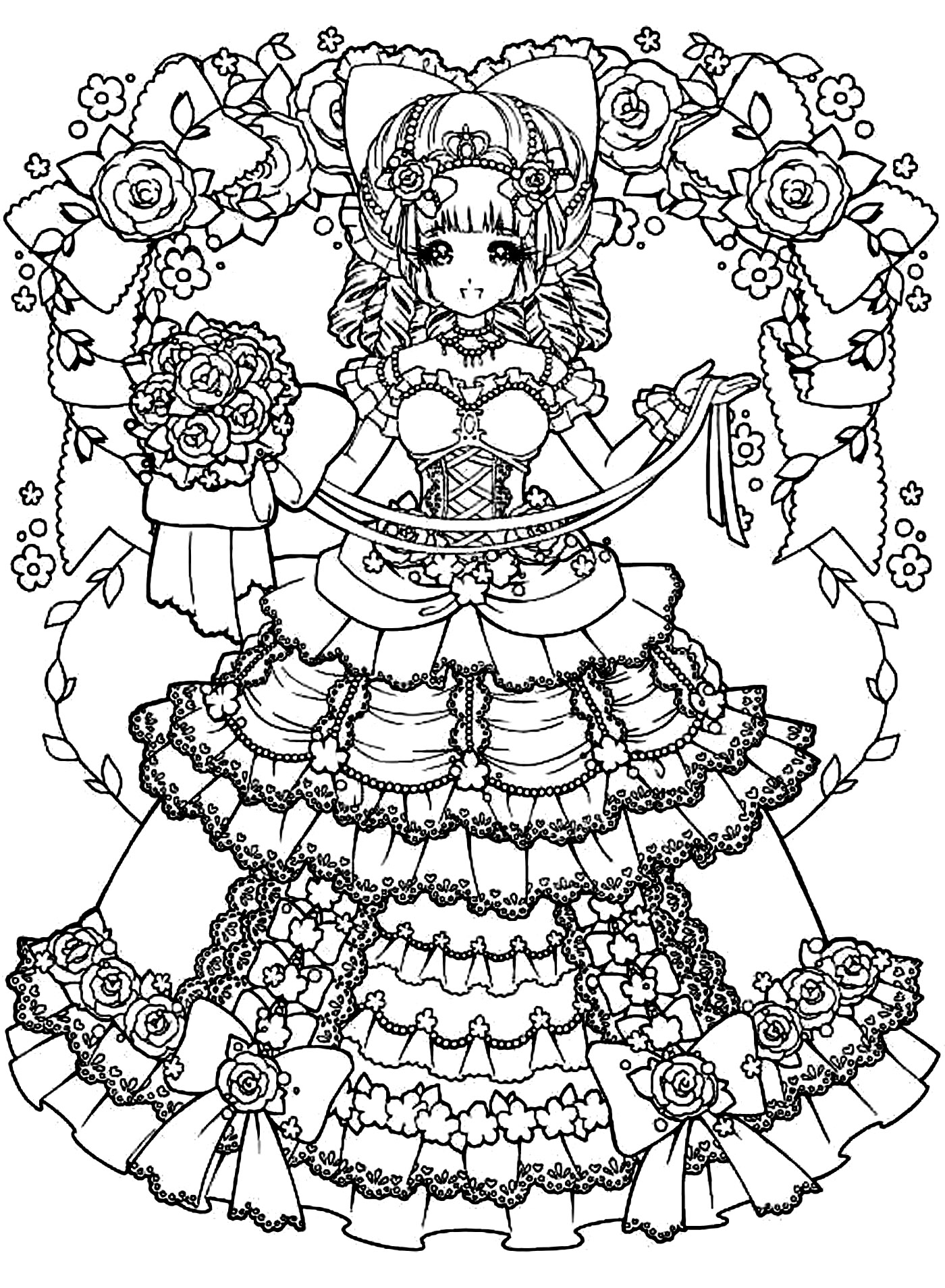 coloring pages for girls dresses back to childhood manga girl dress manga anime adult dresses for coloring pages girls