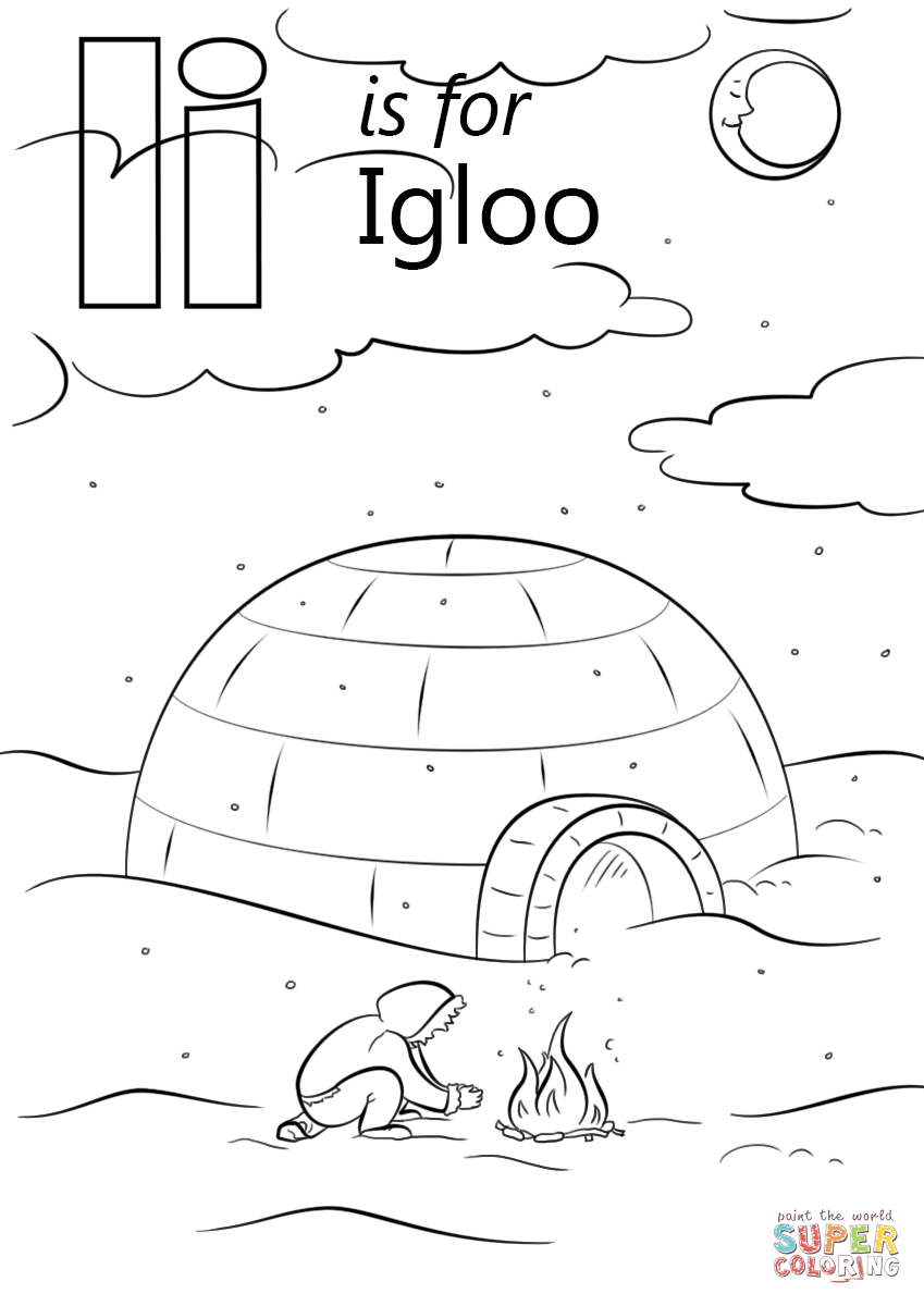 coloring pages letter i big and small letter i and an igloo coloring page best i coloring pages letter