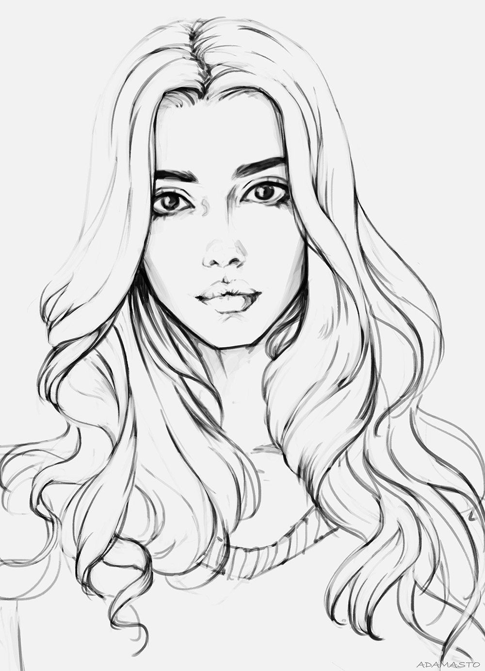 Coloring pages of girls realistic
