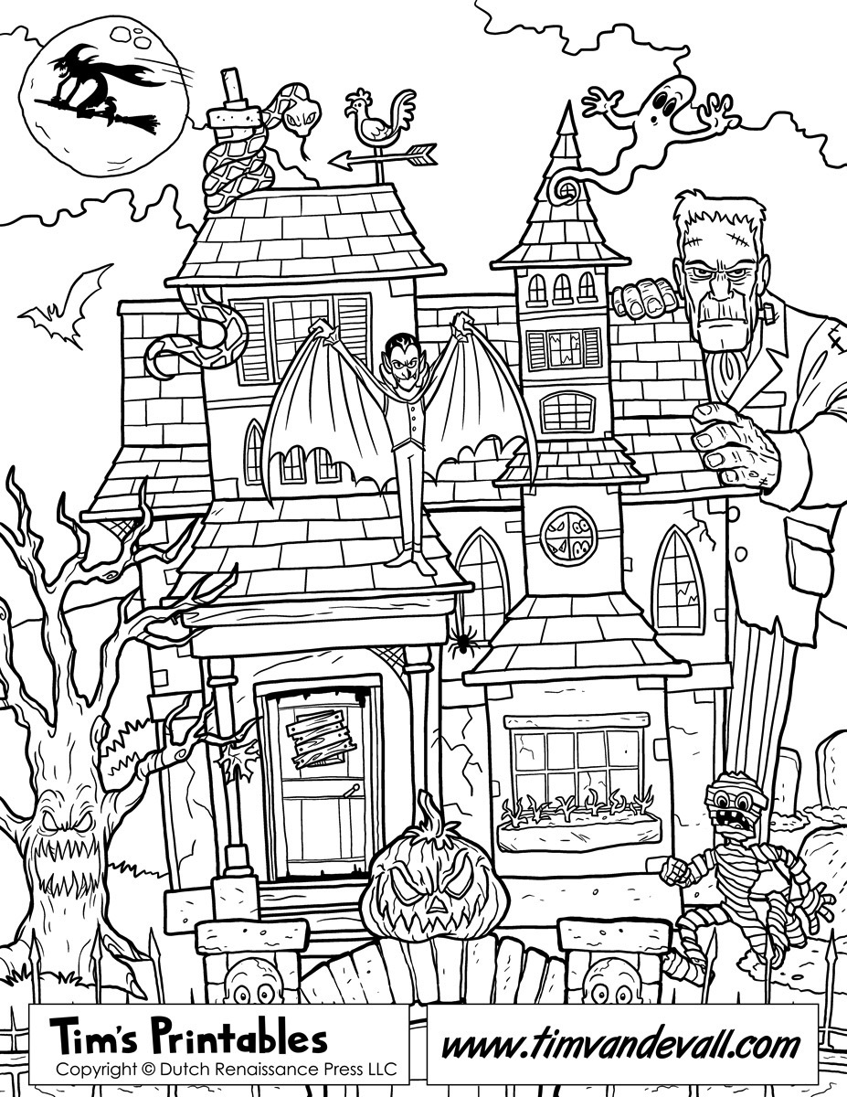 coloring pages of haunted houses free haunted house coloring page printable houses haunted coloring of pages