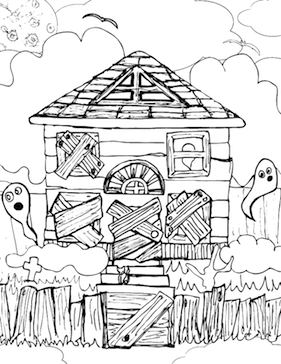 coloring pages of haunted houses haunted house coloring page printable halloween coloring coloring houses pages haunted of