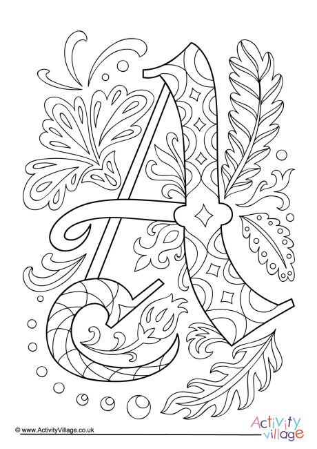 coloring pages of letter a illuminated letter a colouring page of coloring a letter pages