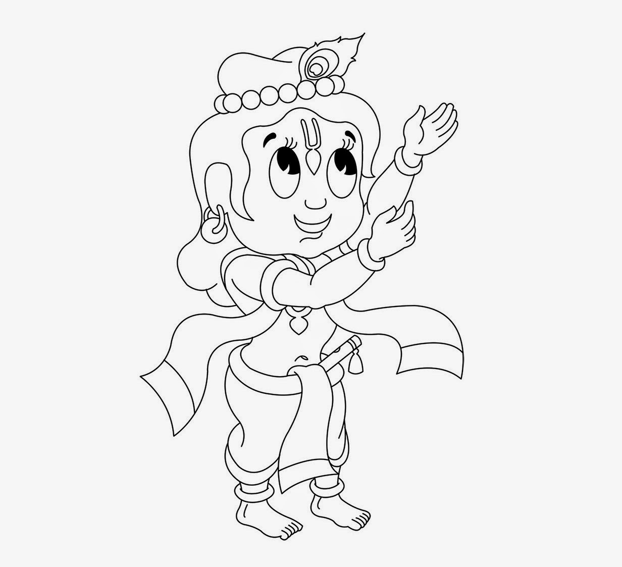 Coloring pages of little krishna