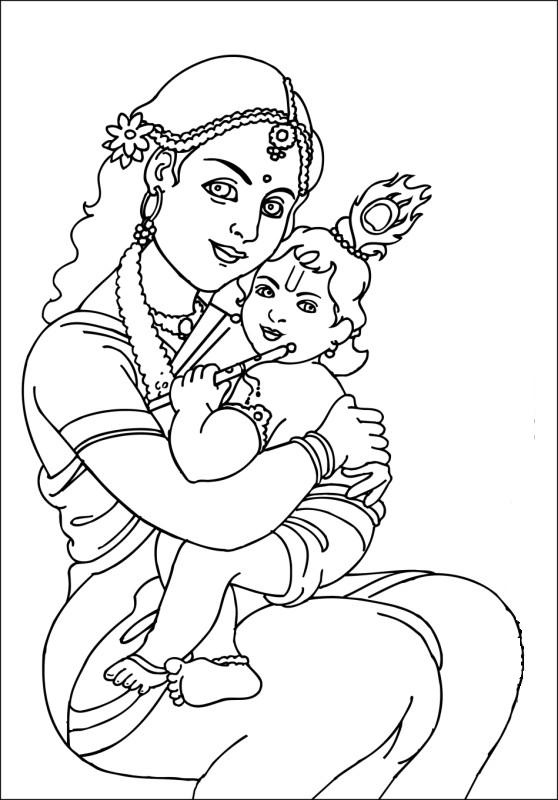 coloring pages of little krishna pin by rijesh on illustrations paper crafts krishna little of coloring krishna pages