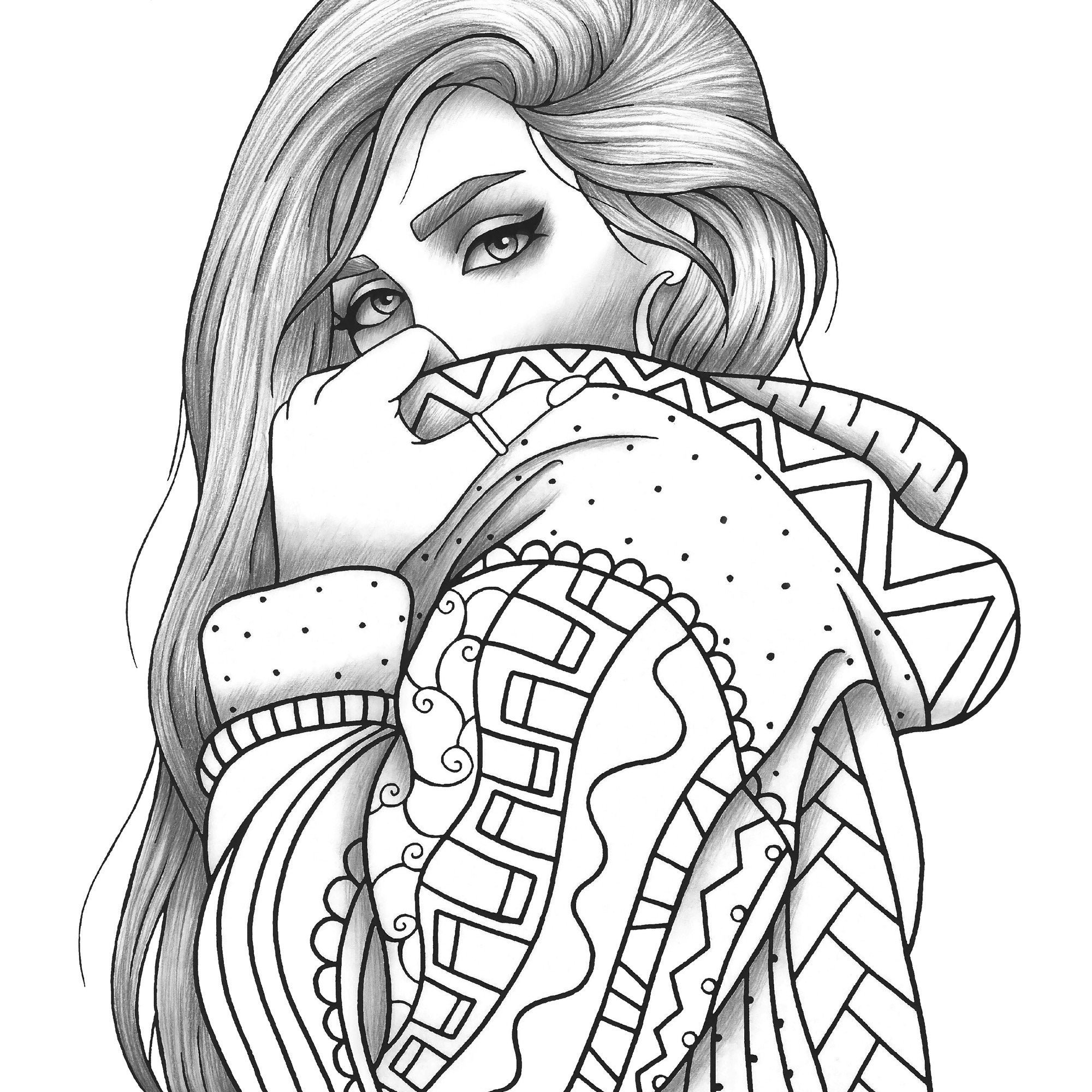 coloring pages of people adult coloring page girl portrait and clothes colouring pages of coloring people