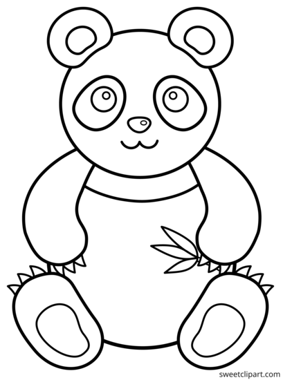 Coloring panda clipart black and white