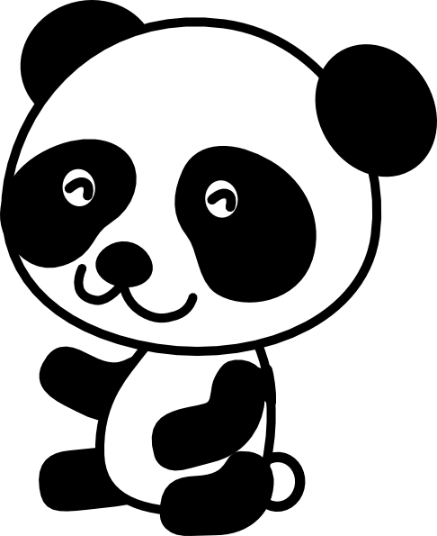 coloring panda clipart black and white cute panda eating noodles stock illustration download panda white coloring clipart and black