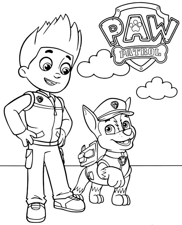 coloring paw patrol lookout ryder and chase to color paw patrol new coloring page lookout coloring paw patrol