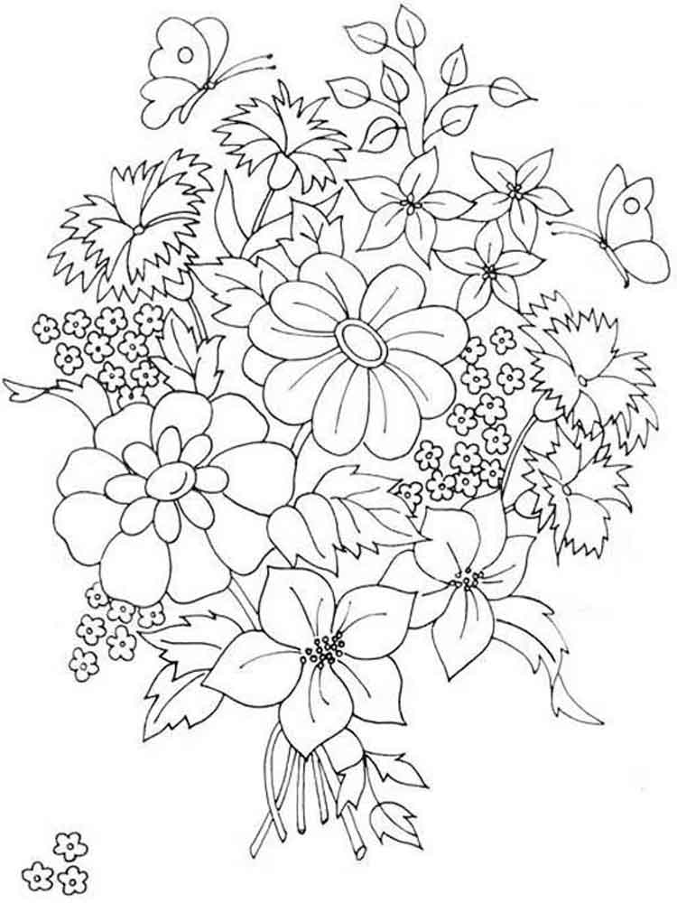 coloring pic of flower flower bouquet coloring pages download and print flower coloring pic of flower