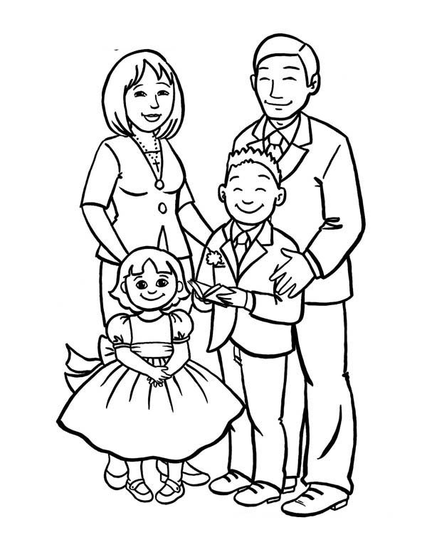 Coloring picture of family