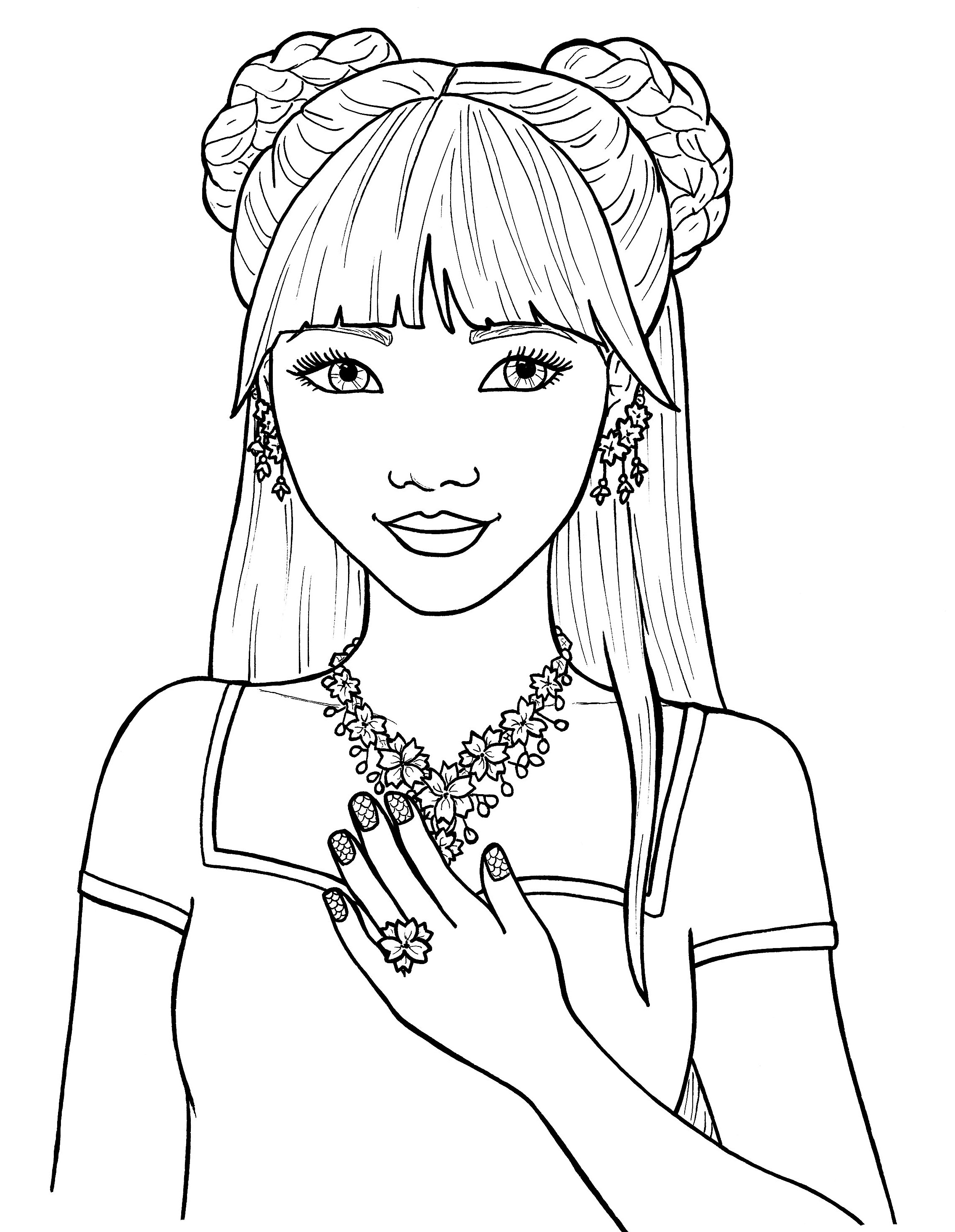 coloring picture of girl daisy girl colorable line art free clip art girl of coloring picture