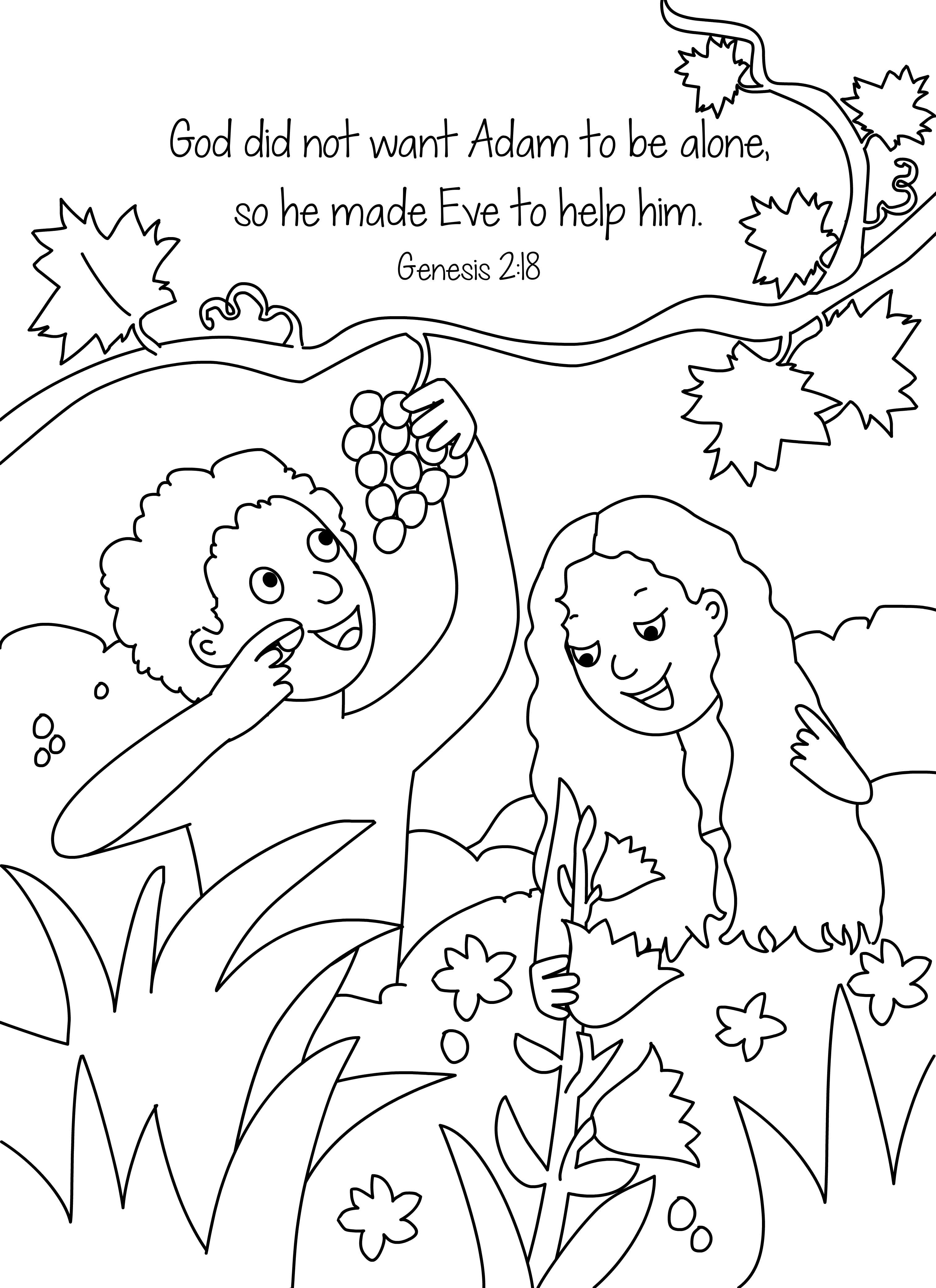 Coloring pictures of adam and eve