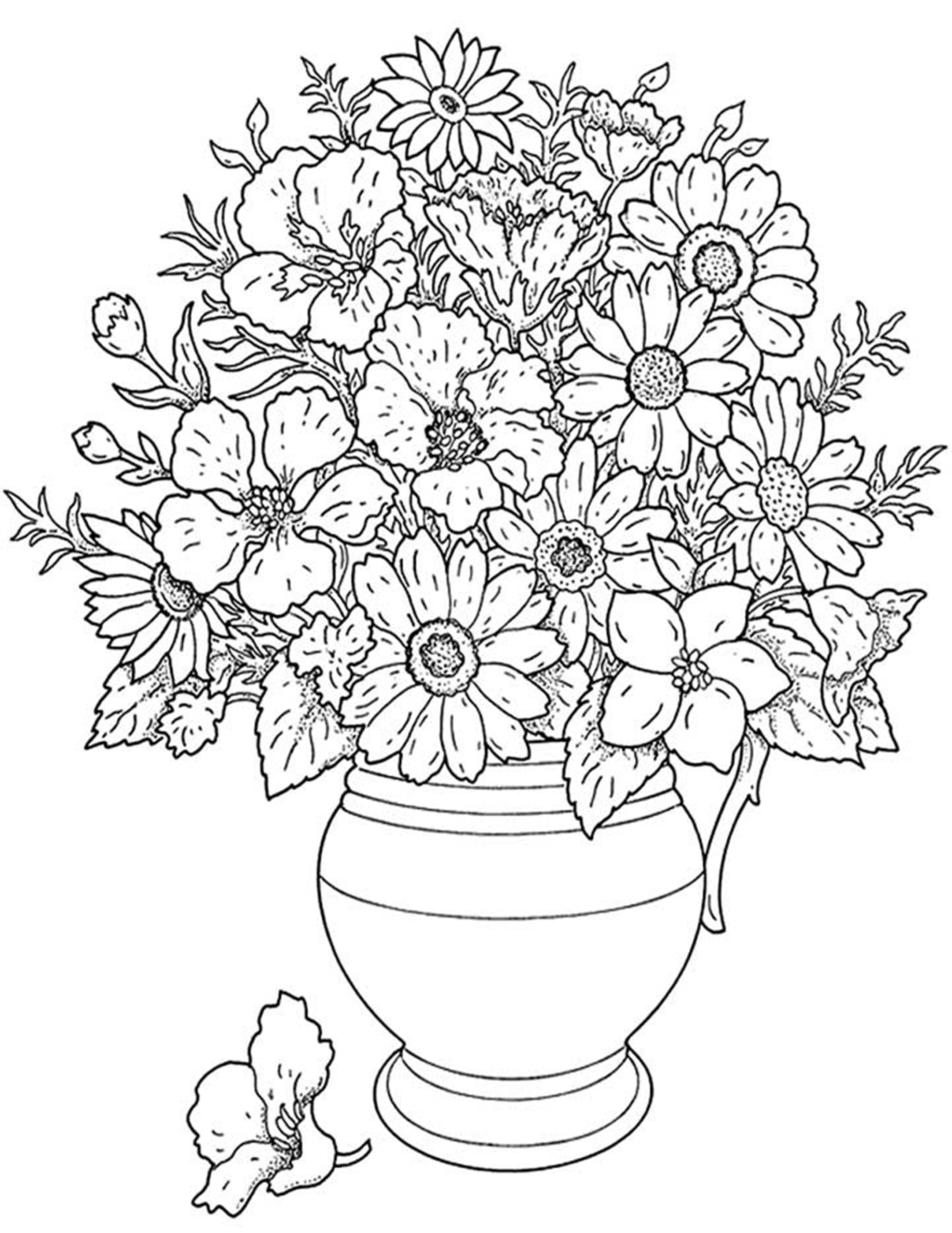 Coloring pictures of bouquet of flowers