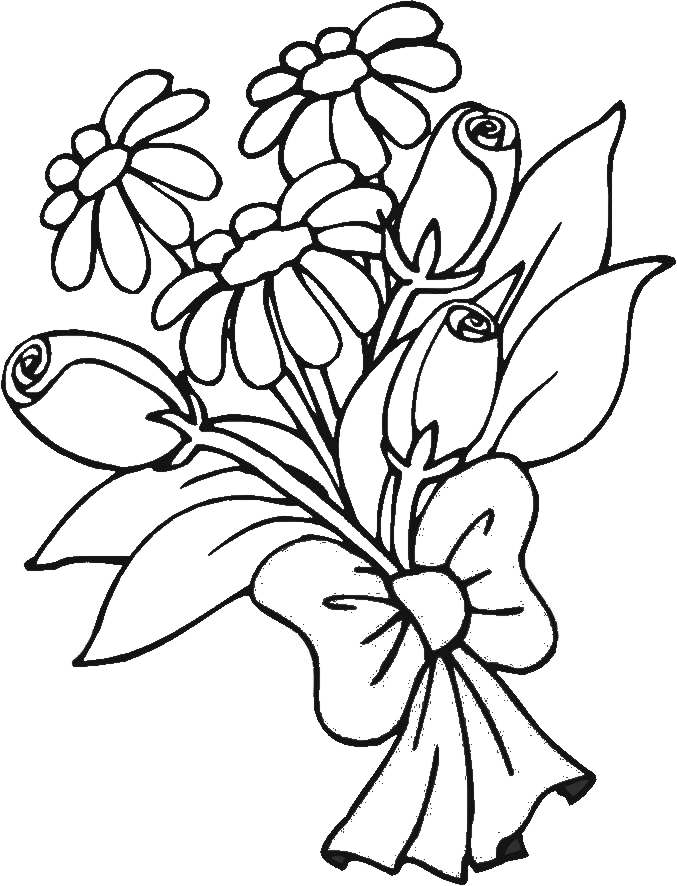 coloring pictures of bouquet of flowers bouquet of flowers coloring pages for childrens printable bouquet coloring of pictures of flowers