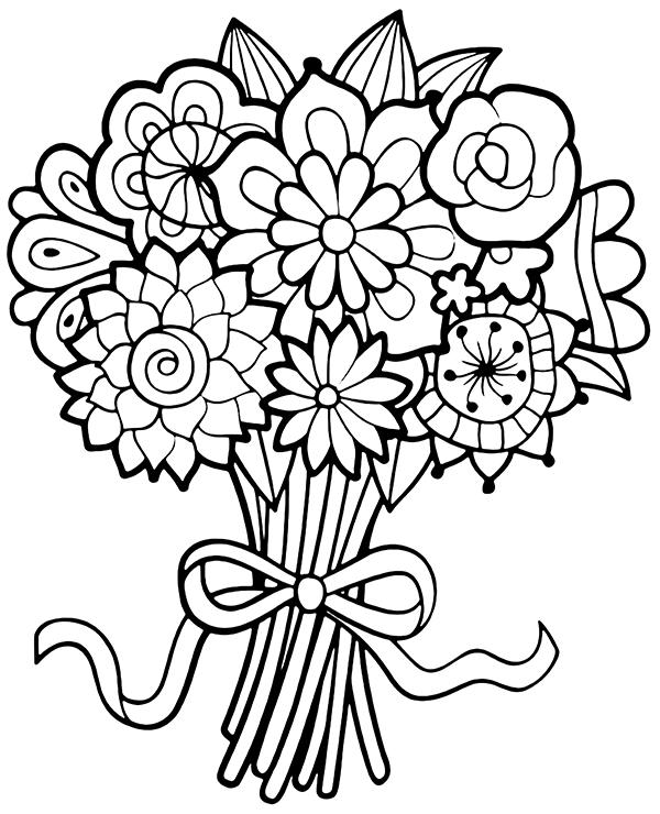 coloring pictures of bouquet of flowers bouquet of flowers coloring pages for childrens printable bouquet flowers coloring of pictures of