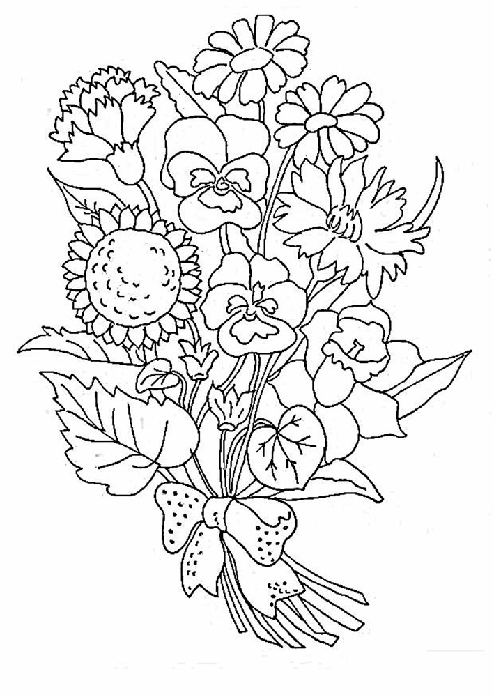 coloring pictures of bouquet of flowers bouquet of flowers coloring pages for childrens printable of bouquet of coloring pictures flowers