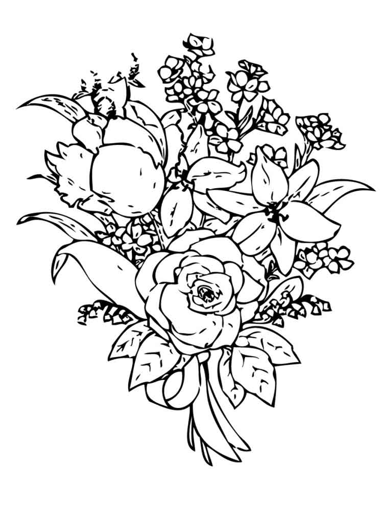 coloring pictures of bouquet of flowers bouquet of flowers coloring pages for childrens printable of pictures coloring of bouquet flowers