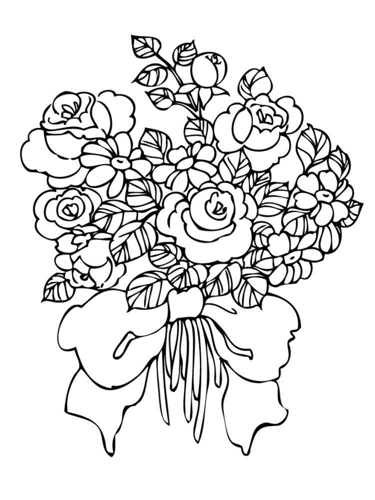 coloring pictures of bouquet of flowers flower bouquet coloring pages download and print flower of of flowers coloring bouquet pictures