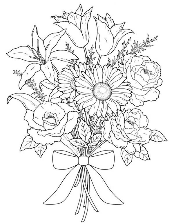 coloring pictures of bouquet of flowers flower bouquet for valentine day coloring page color luna pictures of coloring bouquet flowers of