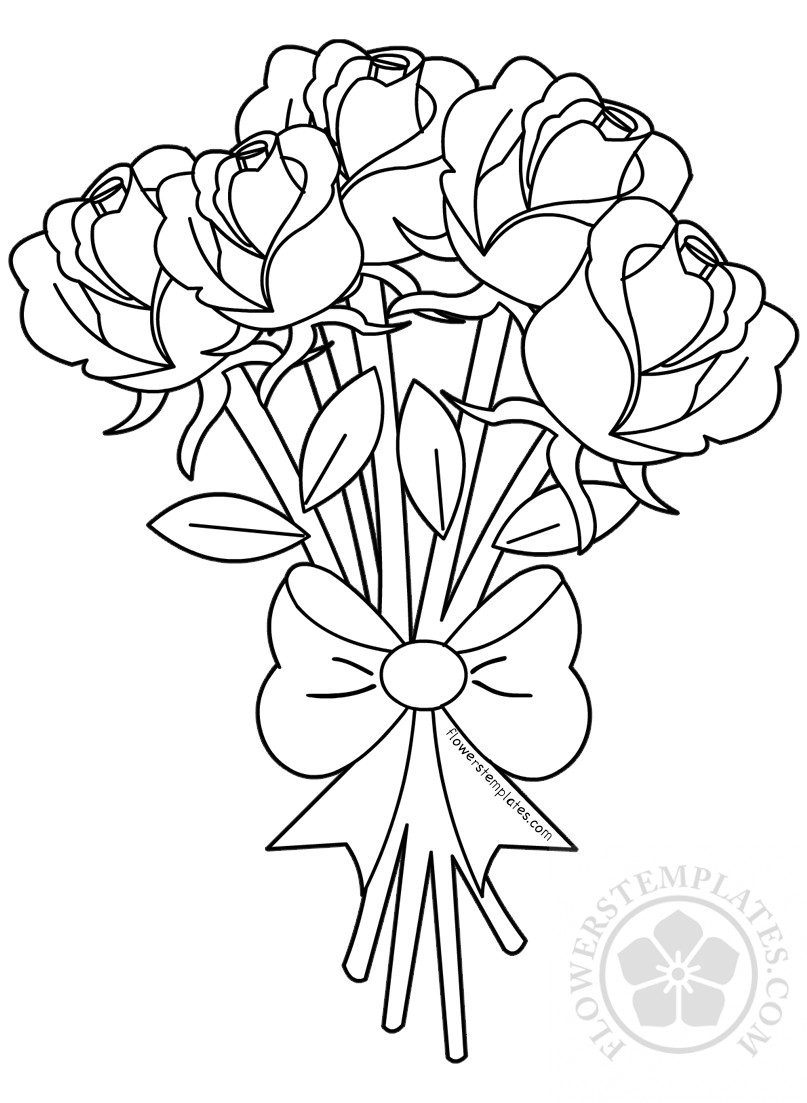 coloring pictures of bouquet of flowers flower bouquet of roses coloring page flowers templates bouquet flowers coloring of of pictures