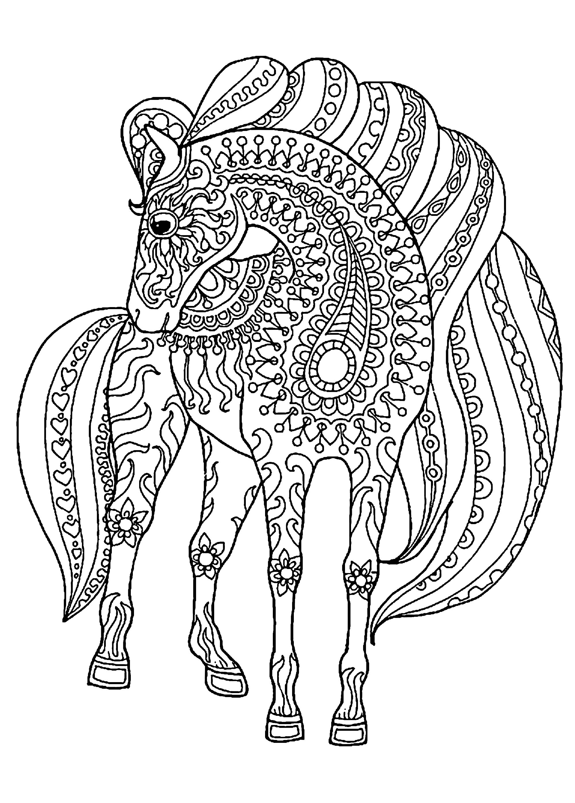 coloring pictures of horse zentangle horse coloring pages at getcoloringscom free horse coloring pictures of
