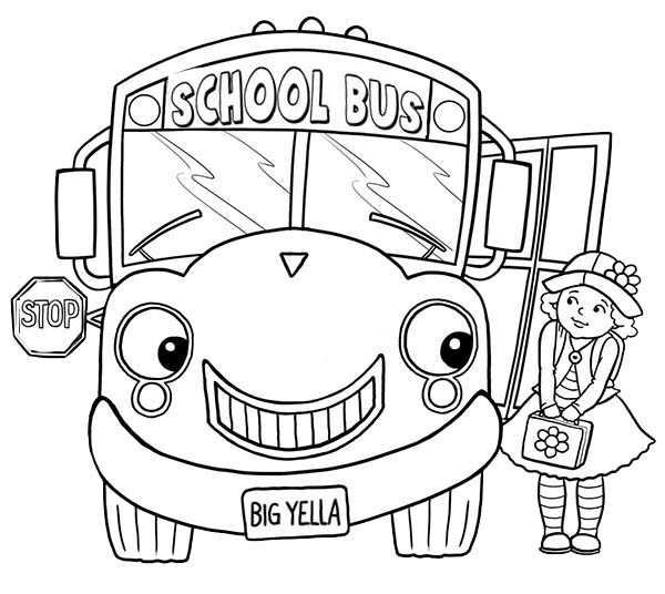 coloring pictures school little girl and school bus on first day of school coloring school coloring pictures