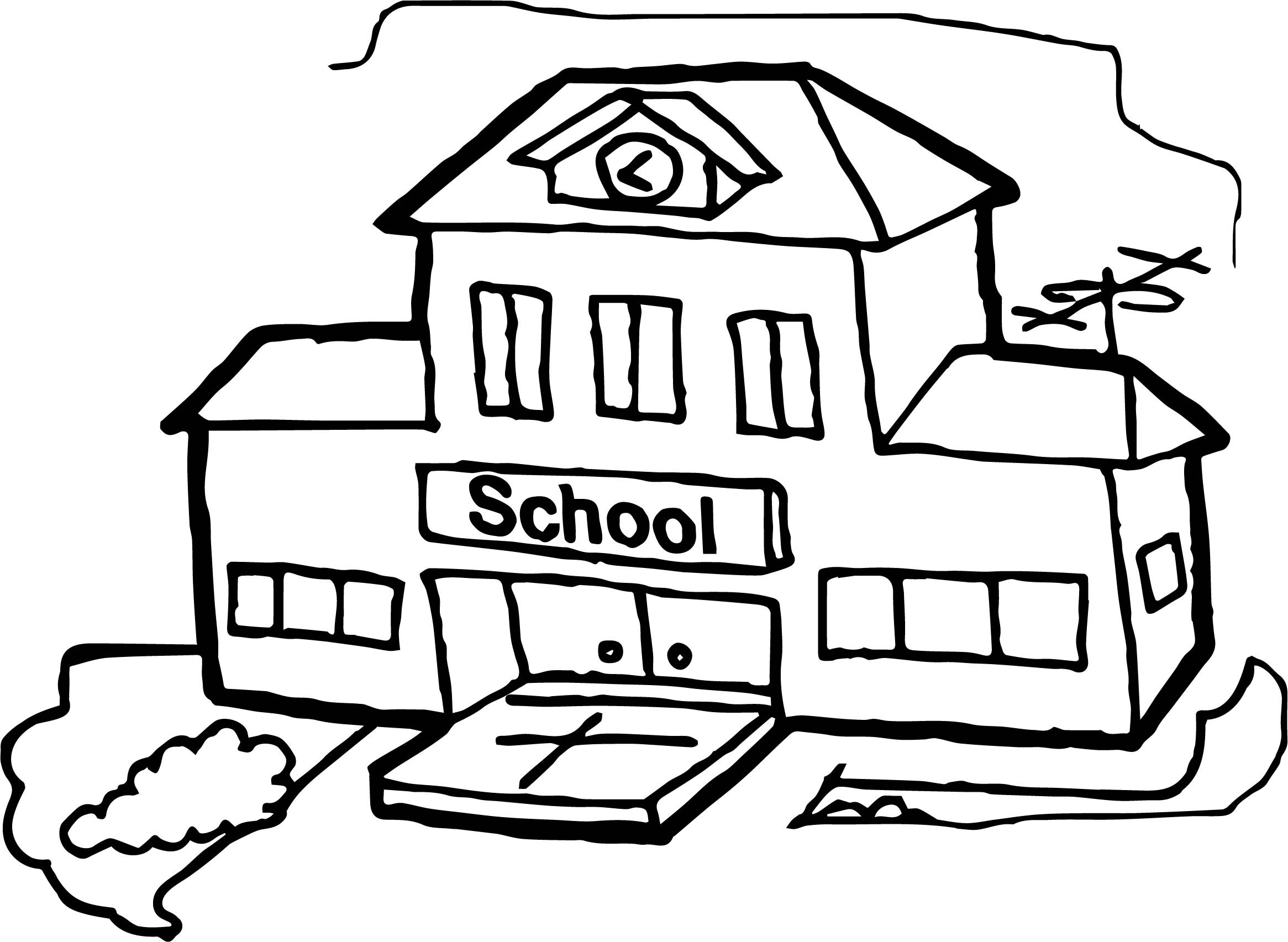 coloring pictures school simple school drawing free download on clipartmag coloring pictures school