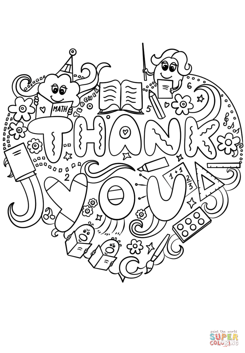 Coloring printable thank you card for teacher