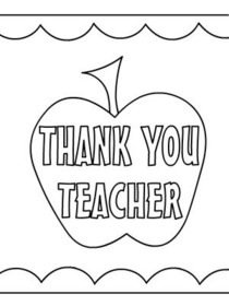 coloring printable thank you card for teacher thank you teacher printable in 2020 with images thank for card printable teacher coloring you