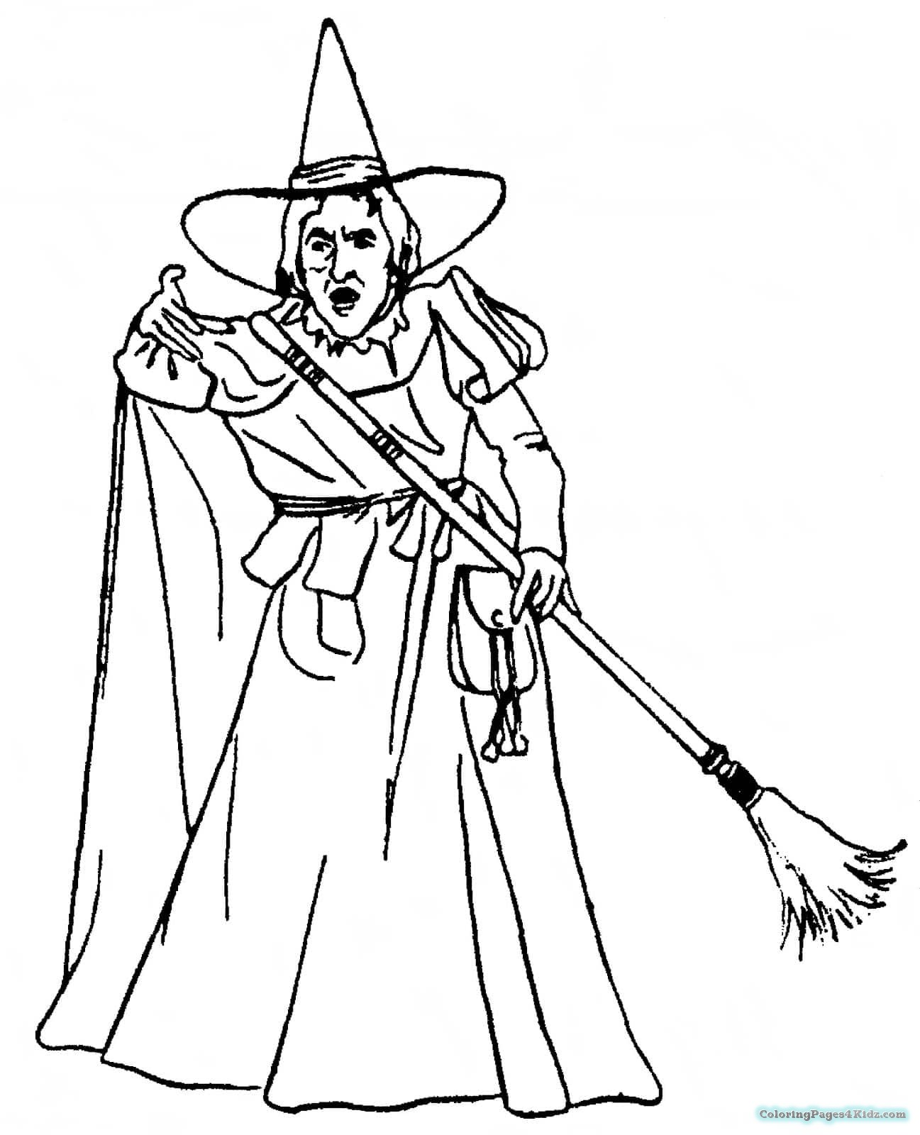 coloring printable witch printabel witch flying on broom coloring page for kidsfree witch printable coloring