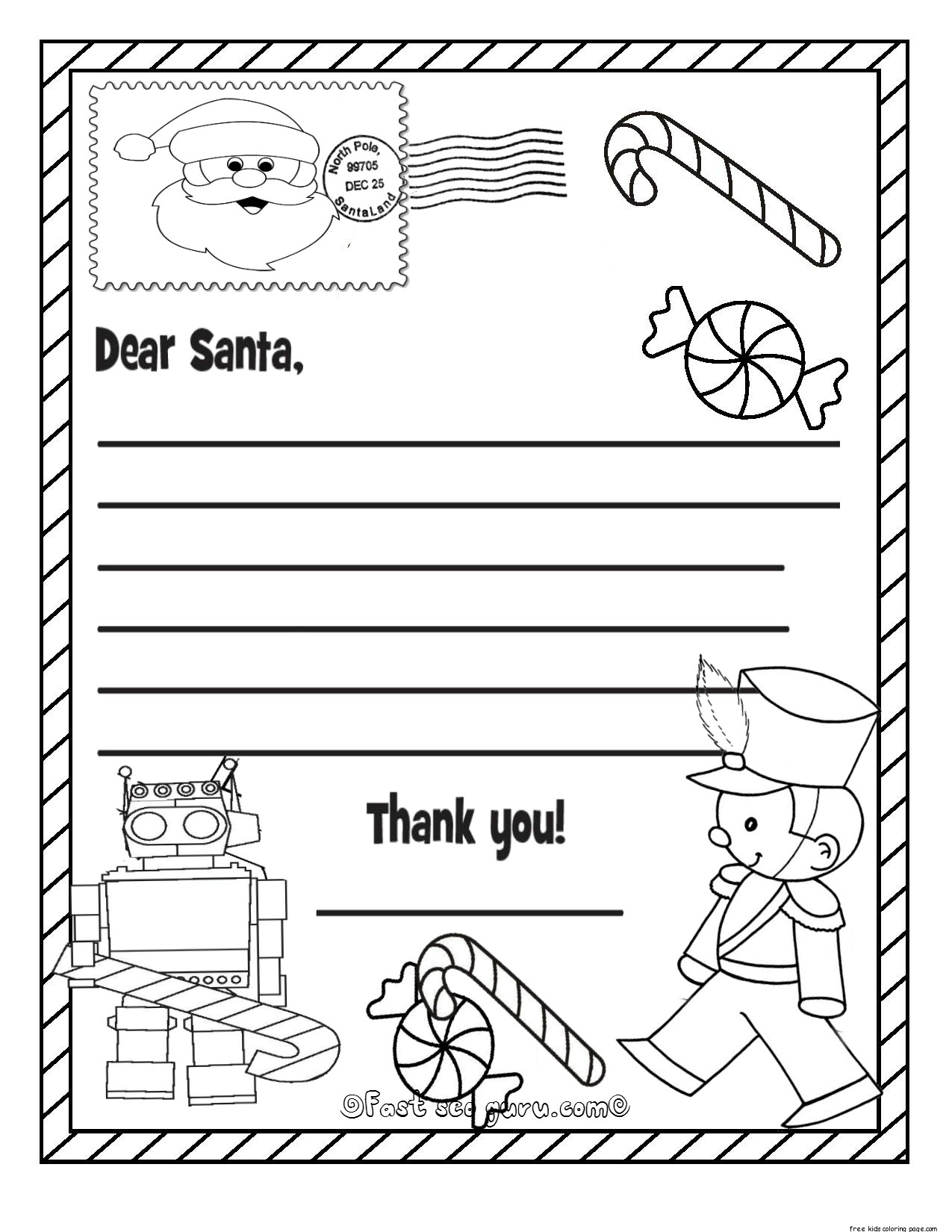 coloring santa letter template printable christmas wish list to santa claus for kids for coloring santa letter template