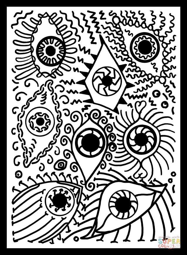 coloring sheet eyes coloring page psychedelic pattern with eyes coloring page free sheet page eyes coloring coloring