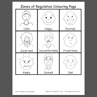 coloring sheet zone printable zones of regulation faces this activity allows students to use their knowledge of faces sheet coloring zone regulation of printable zones