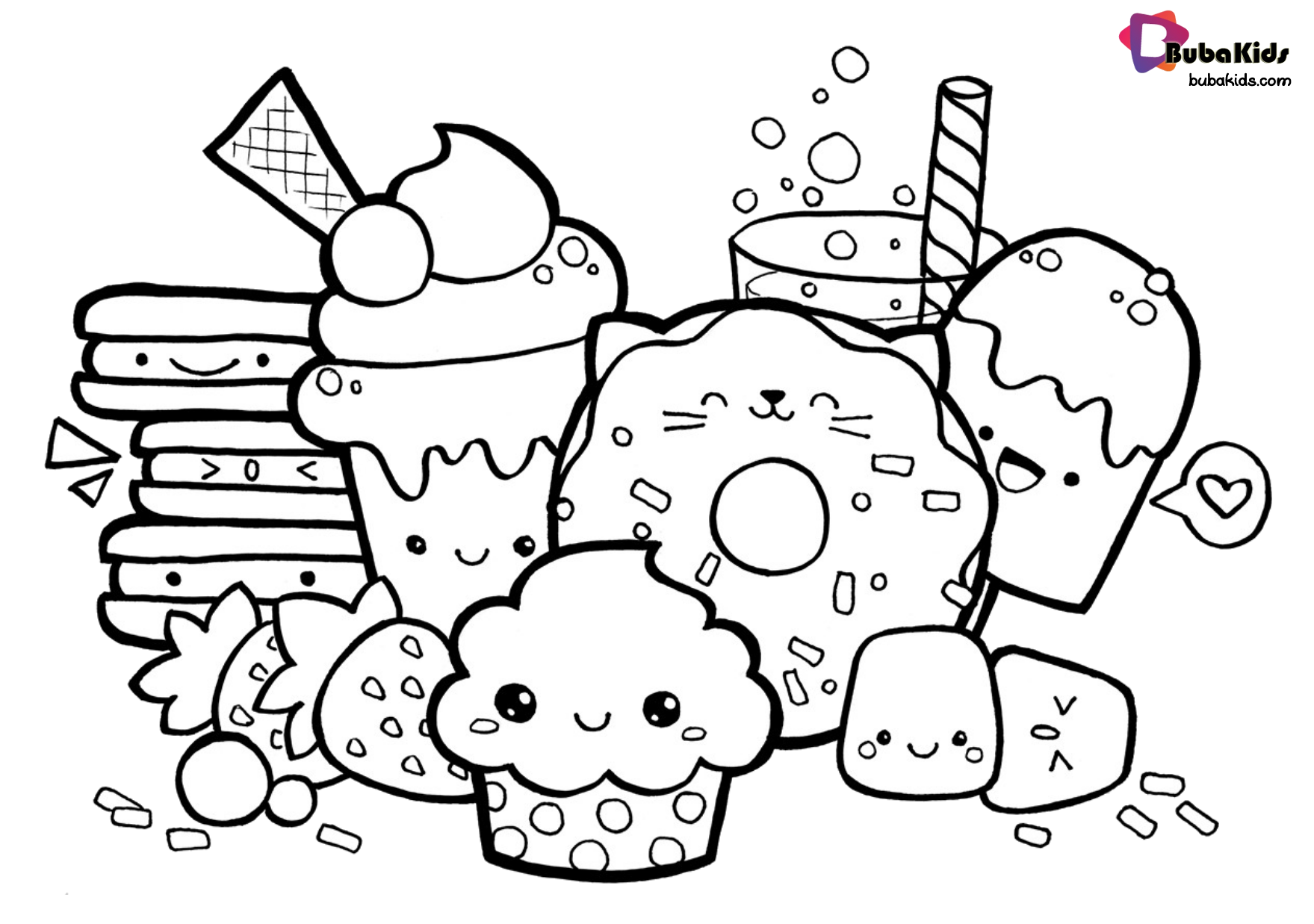 Coloring sheets easy food